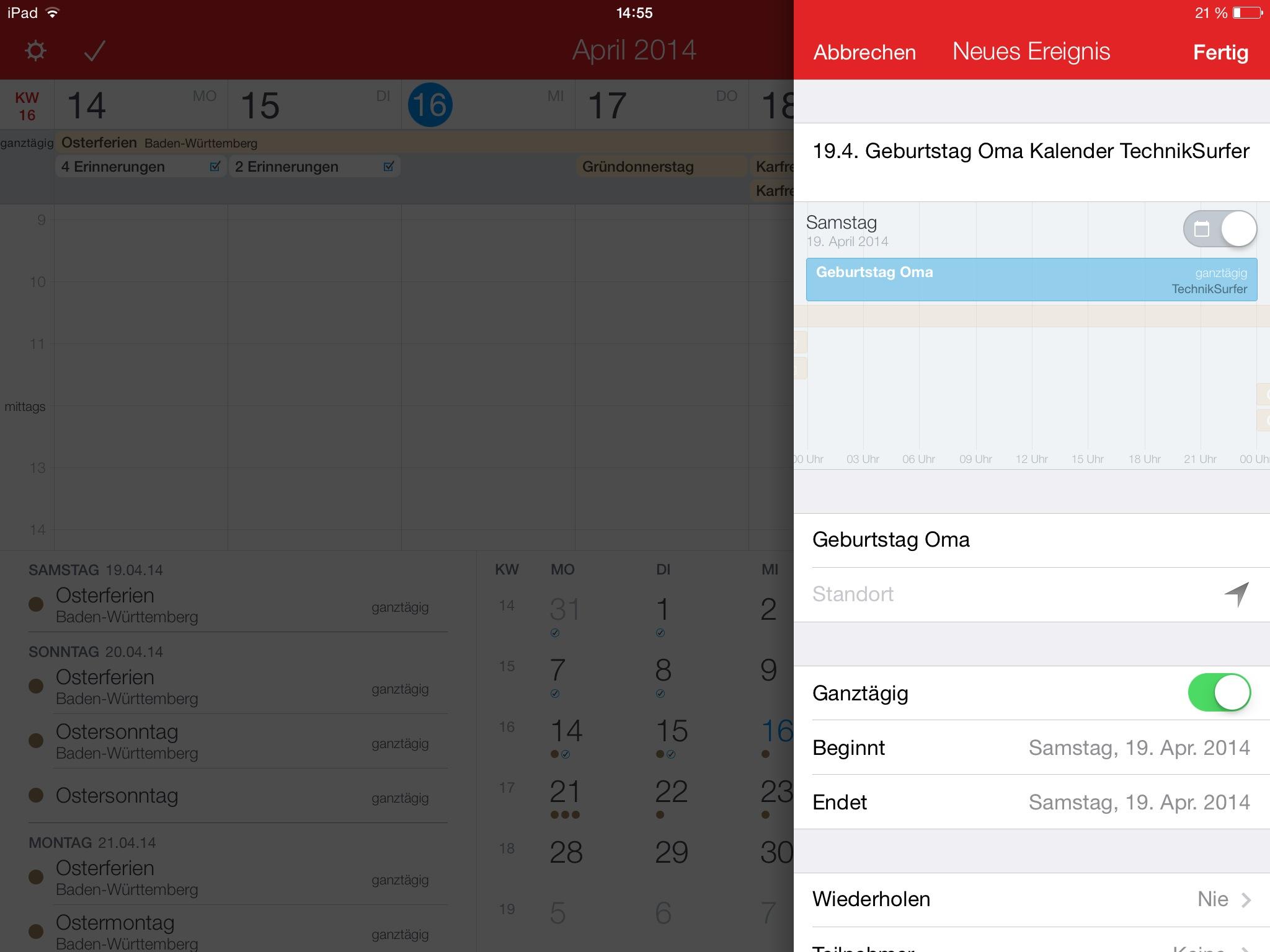 Fantastical 2 für iPad von Flexibits fantastical 2 Getestet: Fantastical 2 von Flexibits für das iPad IMG 0058