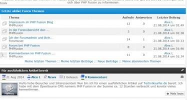 Vorstellung des CMS namens PHP Fusion