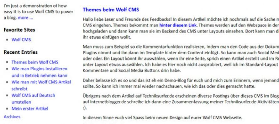 Vorstellung des Wolf CMS