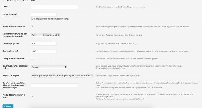 Einstellungen in Affiliate Booster affiliate booster Test: Preisvergleiche mit Affiliate Booster auf dem eigenen Blog Einstellungen 680x365