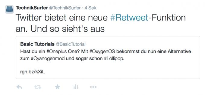Neue Retweet-Funktion auf Twitter - fertiger Tweet Twitter Twitter erhält neue Retweet-Funktion Retweet02 680x315