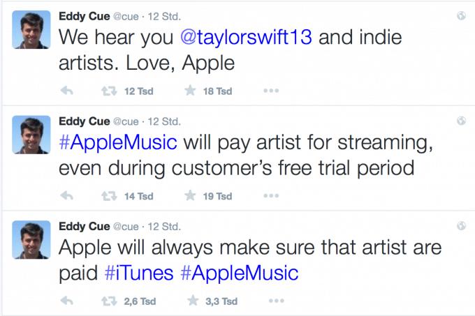 Twitter: Eddy Cues erlösende Nachricht für Apple Music Apple Music Apple Music entlohnt Musiker nun doch während der Testphase Cue Twitter 680x453