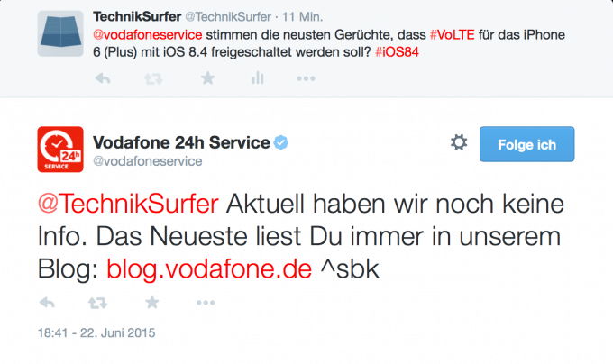 Vodafone äußert sich nicht zu den Informationen über VoLTE volte Gerüchte: Vodafone bald mit VoLTE auf dem iPhone? Vodafone Twitter 680x404