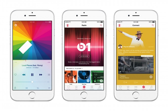 Apple Music wegen schlechten Vertragsbedingungen kritisiert Apple Music Deutscher Musikunternehmerverband kritisiert Apple Music iPhone6 3Up AppleMusic Features PR PRINT 680x450