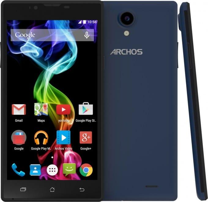 Archos 55 Platinum vorgestellt archos Archos startet mit neuen Smartphones in die Weihnachtszeit AC55PL BLUE front back side lollipop 680x662