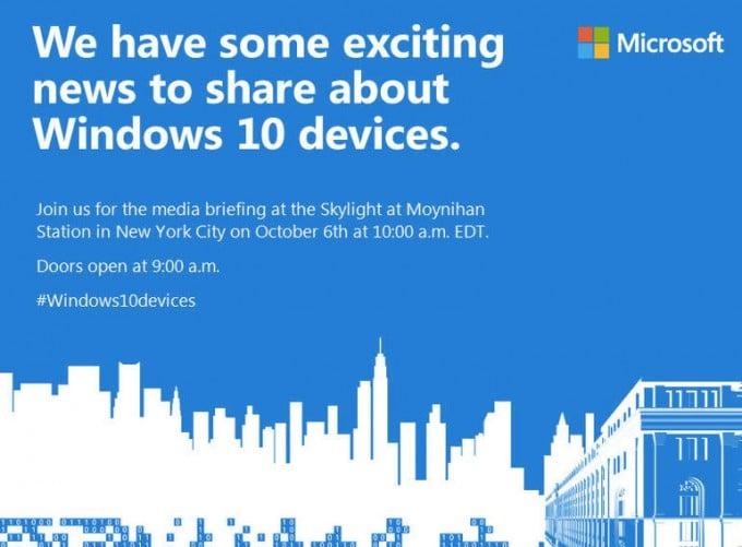 Microsoft will neue Hardware zeigen Microsoft Microsoft lädt zu Hardware-Event nach New York ein MS Win10 Einladung 680x501