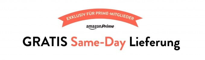 Amazon führt Amazon Same-Day Lieferungen ein Amazon Same-Day Amazon Same-Day Lieferung seit heute in Deutschland – auch Samstags Amazon Gratis Same Day Lieferung 680x200