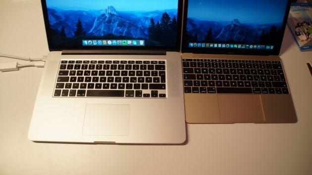 Tastaturen des MacBook Pro (links) und MacBook (rechts) im Vergleich. macbook Test: MacBook (2015) – der perfekte Begleiter DSC05252 630x354