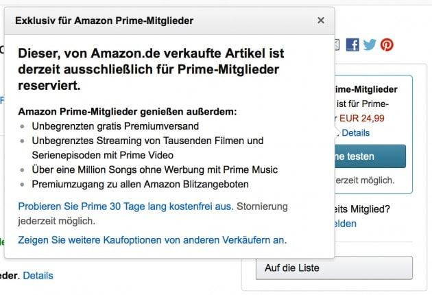 Amazon führt Prime Produkte ein Amazon Amazon schränkt Nicht-Prime Kunden ein Amazon fuehrt Prime Produkte ein 630x430