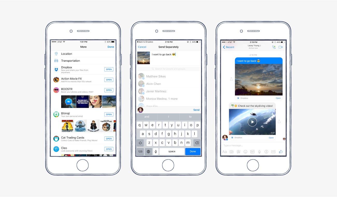 Das Zusammenspiel von Dropbox und Facebook facebook messenger Facebook Messenger bekommt Dropbox-Anbindung Das Zusammenspiel von Dropbox und Facebook