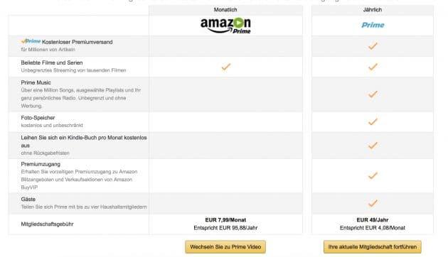 Die neuen Amazon Prime Pakete Amazon Amazon Prime Video jetzt auch einzeln buchbar Die neuen Amazon Prime Pakete 630x362
