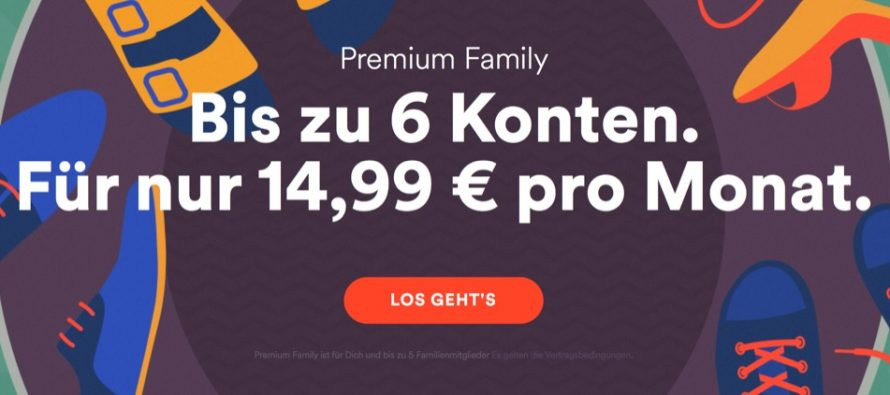 Spotify ändert Preis für das Familien-Abonnement