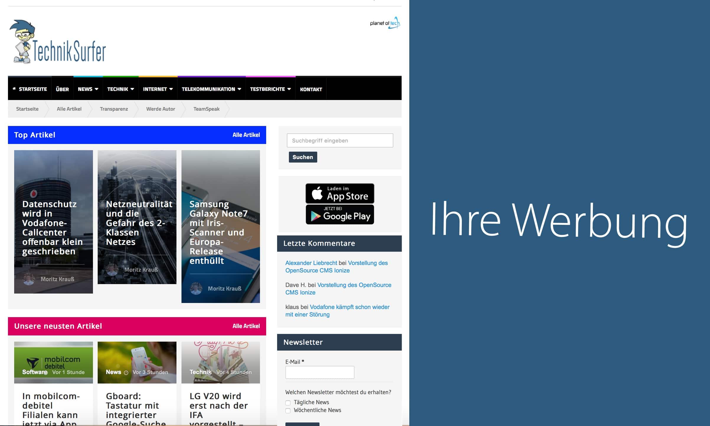 Werbeformat: Dynamic Sitebar  Werben auf dem TechnikSurfer Sitebar Ad
