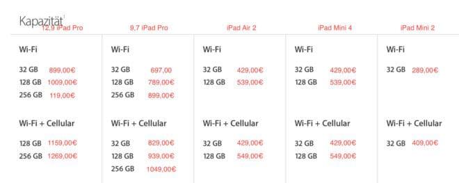 iPad neue Preise ipad Apple spendiert sämtlichen iPad Modellen neue Preise und mehr Speicher iPad Pro Preise 660x263