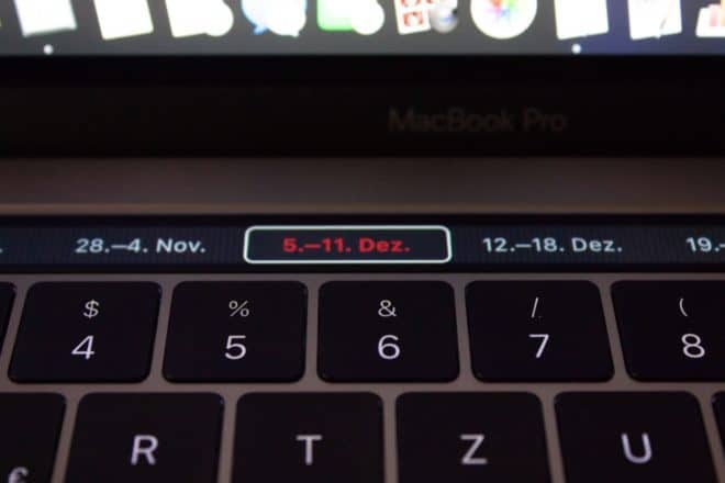 macbook Angetoucht: Das MacBook Pro mit Touch Bar im Test TouchBar Kalender Wochen 660x440