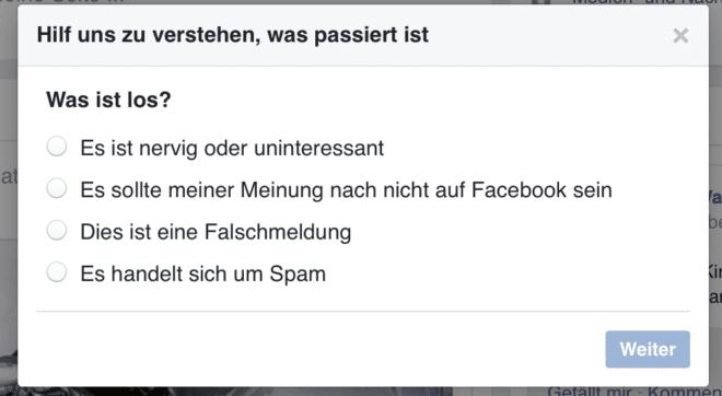 Melden von Fake News bei Facebook Facebook Facebook: Reactions und Dislike im Messenger, erste Fake News werden gekennzeichnet Facebook FakeNews melden 660x362