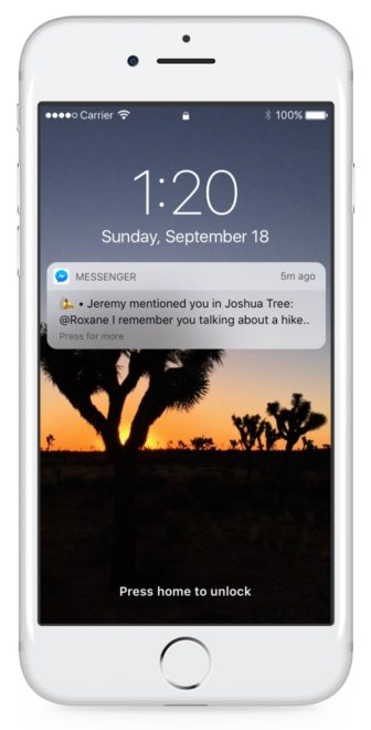 Pushnachricht bei Facebook Messenger Mention Facebook Messenger Facebook Messenger: Reactions und Erwähnungen treffen ab heute ein facebook messenger mentions 2  336x660