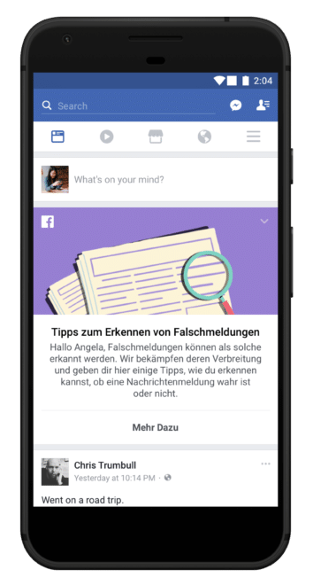 Facebook gibt Tipps zum Erkennen von Fake News fake news Facebook und Google gehen in Deutschland jetzt akiv gegen Fake News vor Facebook FakeNews Banner 354x660