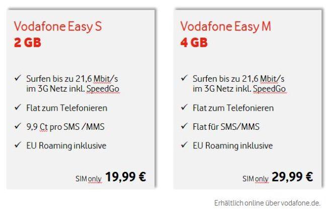 Vodafone Easy Tarife Vodafone Vodafone Easy: neue Einsteigertarife spielen in der Vergangenheit Tarif  bersicht Easy 660x421