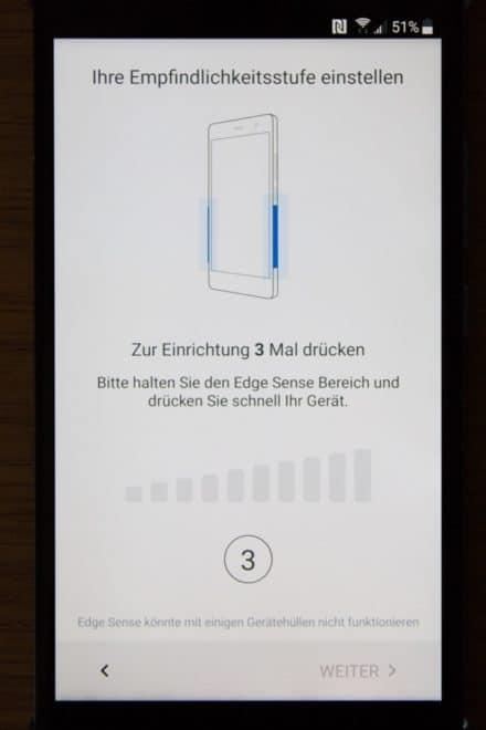 htc u11, htc, htc u HTC U11 im Test: Groß, stark und scharf Screenshot Installation Edge Sense 3 Empfindlichkeitsstufen 440x660