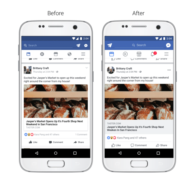 Neues Facebook App Design 2017 facebook Facebook App: Neues Design für iOS und Android Facebook Design Newsfeed 660x629