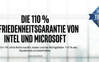 Microsoft und Intel geben 110 Prozent Zufriedenheitsgarantie auf 2-in-1-PC