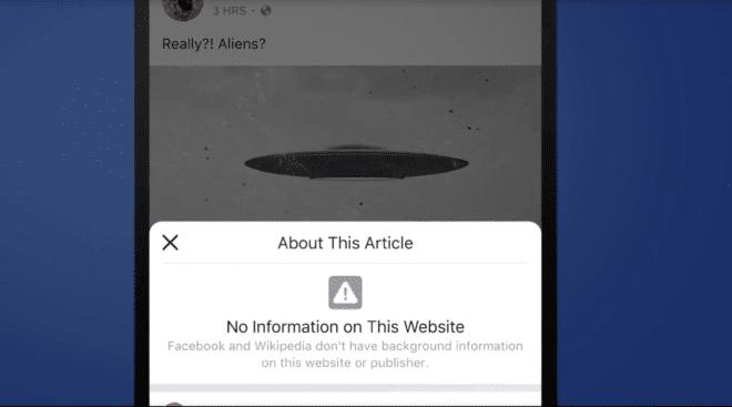 Facebook Mehr über den Artikel fehlende Infos facebook Wegen Fake News: Facebook führt Informationen zu Artikeln ein und verbündet sich mit Wikipedia Facebook about article no information 660x367