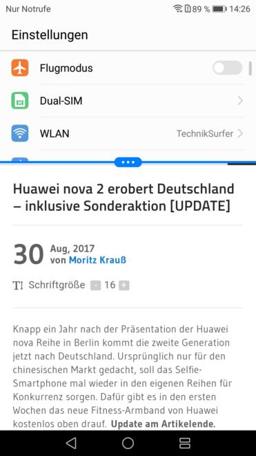 Huawei nova 2 huawei Test: Huawei nova 2 – Der Selfie-Superstar hat sich verknipst Huawei nova 2 EinstellungenBrowser Split 371x660